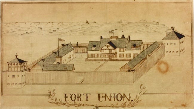 A crude drawing of Fort Union made by Benjamin Franklin Griffith, a soldier garrisoned at the fort in 1865.  The original outline of the fort began as a fur trading post near the confluence of the Missouri and Yellowstone rivers and was built in 1828.
