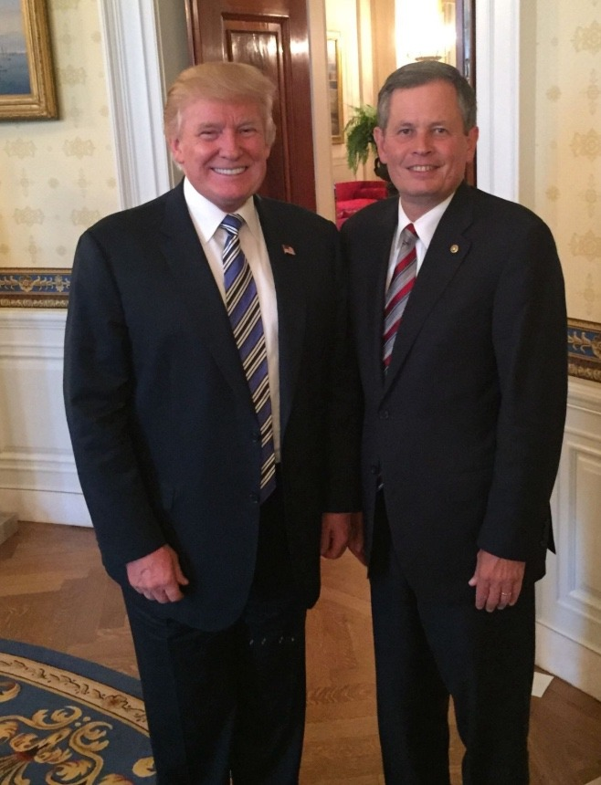President Trump and one of his most stalwart defenders, U.S. Sen. Steve Daines of Montana. No matter what Trump's actions, tweets or questionable conduct that critics say violates the decorum of the presidency, Daines has refused to hold town hall meetings with constituents in his home town and defiantly suggests that the President can do nothing wrong.