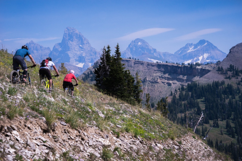 Among the most spectacular rides for mountain bikers in Greater Yellowstone can be found near the summit of Grand Targhee Ski Resort. It is located along the west side of the Tetons on the Caribou-National Forest near Alta, Wyoming.  Photo by Nate Lowe/US Forest Service