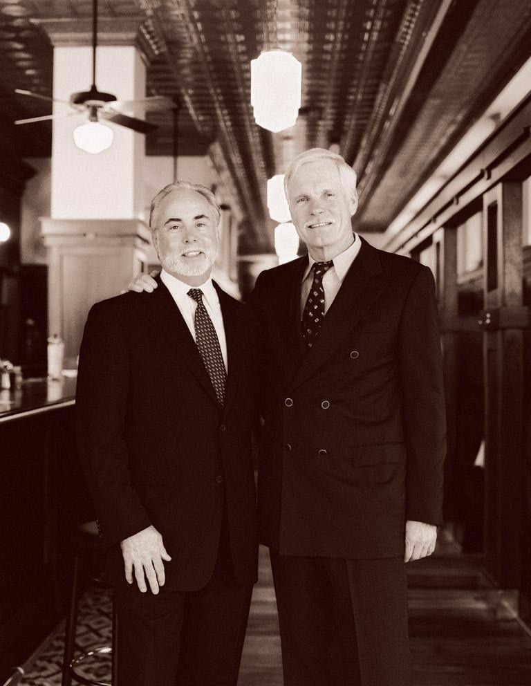 George McKerrow, left, with Ted Turner, at the Ted's Montana Grill restaurant located at the Turner Building in downtown Atlanta. Photo courtesy Ted's Montana Grill