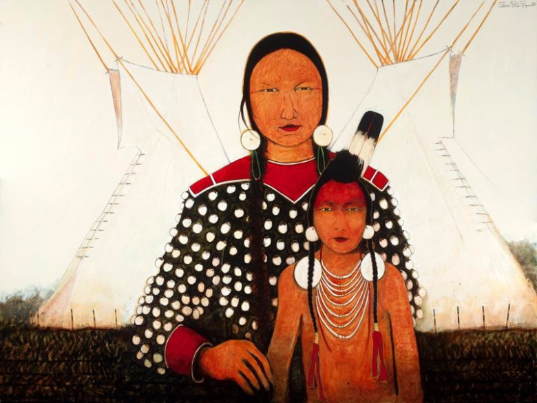 Crow Indian Mother and Son, acrylic on canvas, by Kevin Red Star
