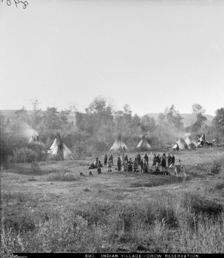 """Indian Village—Crow Reservation,"" 1881, by F. Jay Haynes courtesy Montana Historical Society"