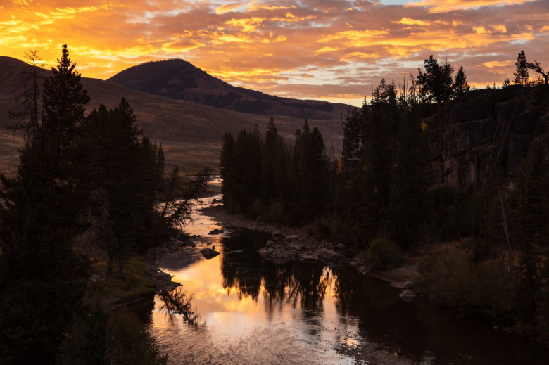 Sunrise over the Lamar River in in the Lamar Valley of Yellowstone National Park. A place today rich with wildlife, it was—and still is—identified as a homeland for the Crow with dozens of other tribes also having a cultural affiliation with area.  Photo courtesy Jacob W. Frank/National Park Service