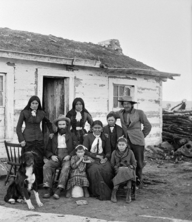 Tom Shane Family, 1880, at Absarokee Agency, by F. Jay Haynes, courtesy Montana Historical Society