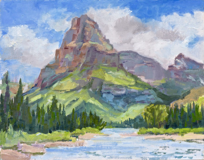 Barbara Rusmore's portrayal of Sinopah Mountain which rises above the Two Medicine Valley in Glacier National Park.