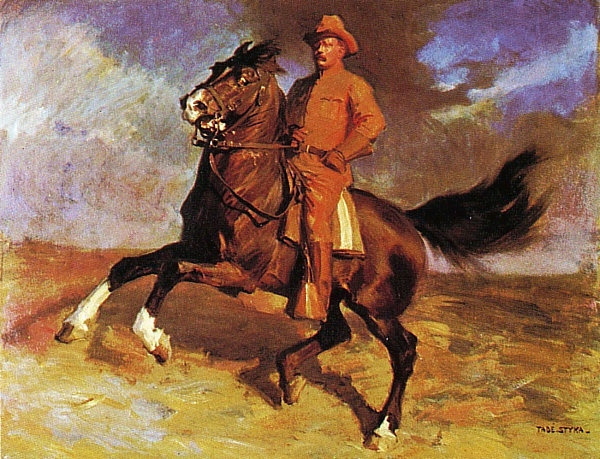Theodore Roosevelt, the rough rider, is featured in this painting by Tade Styka that is in the White House. President Trump considers himself an environmental president like Roosevelt but what would TR make of him?