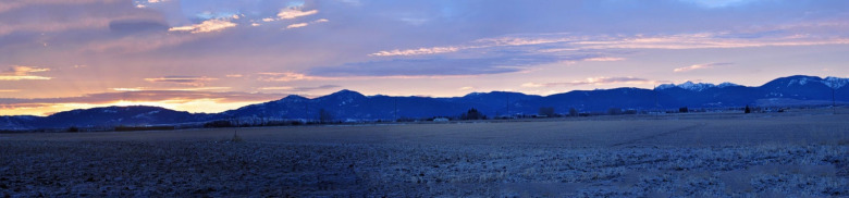 Sunrise comes to Bozeman and the rapidly growing Gallatin Valley with the Gallatin Mountains rising in the distance south of one of America's fastest-growing micropolitan cities.  Photo courtesy Mike Cline/Wikipedia/https://creativecommons.org/licenses/by-sa/4.0