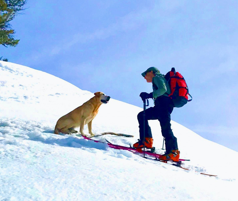 The author and his dog, Pukka, during a ski together in winter 2019 in Jackson Hole marking the occasion of both of their birthdays.  Photo by Marian Meyers
