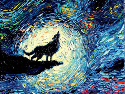 "Painting title ""Van Gogh Never Howled To The Moon."""
