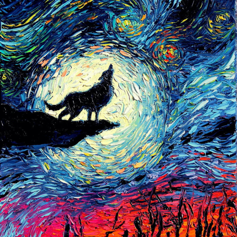 """Van Gogh Never Howled At The Moon,"" a painting by Aja. (check out more of Aja's work at www.sagittariusgallery.com)"