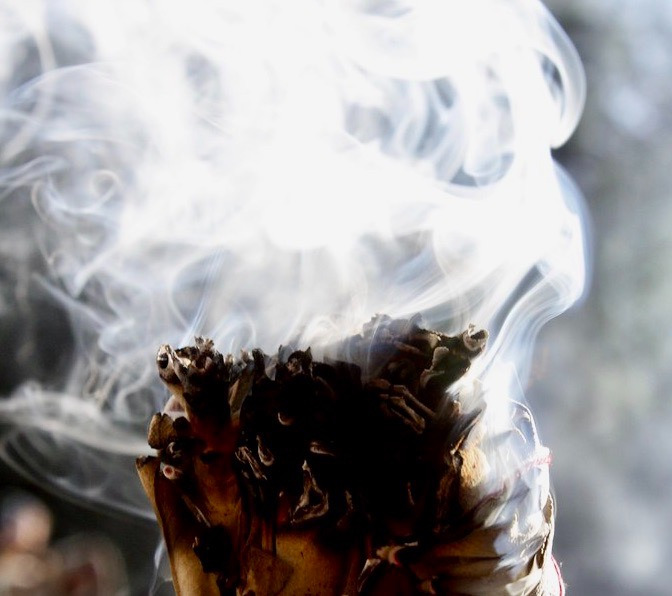 Burning of sage used in prayer and to purify our minds of bad thoughts and negativity.  Photo courtesy Andrea Parrish-Geyer/Flickr