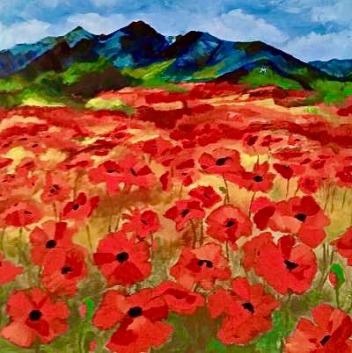 "Gallatin Valley was once called ""the valley of flowers."" In this original acrylic painting, DeOpsomer portrays a field of poppies in front of the Bridger Mountains"