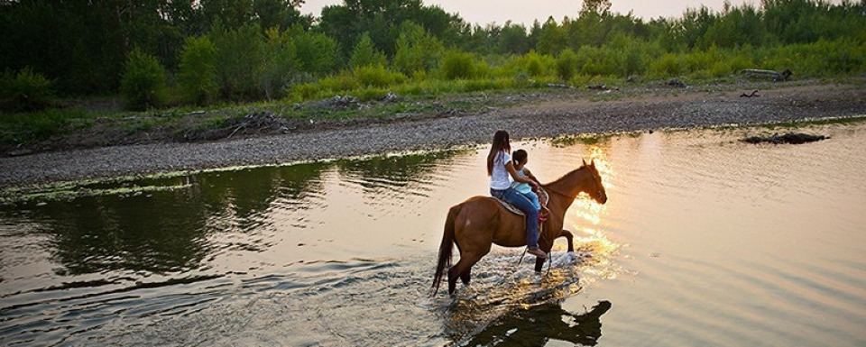 Blackfeet activist Kendall Edmo shows her daughter around ancestral land