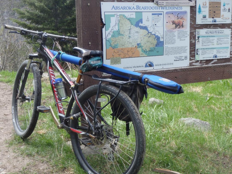 An angler who respects the special allure of wilderness leaves his mountain bike at the trailhead, as is required by law,  in order to protect the slow-speed special character of the Absaroka-Beartooth Wilderness. Photo courtesy Jesse Logan