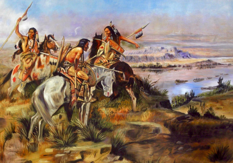 """Indians Discovering Lewis and Clark,"" a painting by Charles M. Russell created in 1896. Lewis, Clark and their Corps of Discovery encountered many different indigenous tribes during their navigations up and down the Missouri River and to the Pacific Coast and back. Several tribes, if they had wanted, could have lethally halted the expedition but didn't."