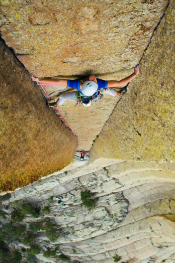 A climber ascends Devils Tower (Bear Lodge) Photo courtesy National Park Service