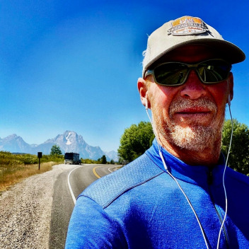 Poindexter walking through northern Jackson Hole.