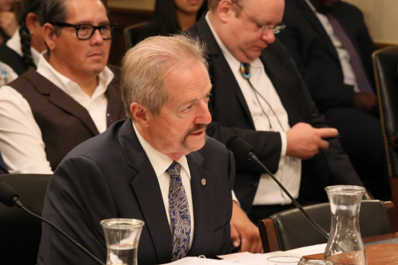 "William Pendley Perry testifies before the House Resources Committee on Capitol Hill in 2019.  Pendley never went through the full Senate approval process to confirm his nomination to be permanent director of the Bureau of Land Management. As a result, a federal judge ruled that he could no long lead the agency and that resource decisions made during his tenure as unapproved ""acting"" director may be null and void. Photo courtesy US House Resources Committee"