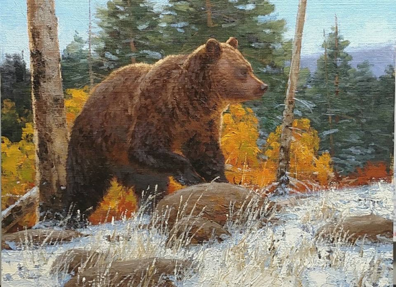 Unthinkable half a century ago, grizzlies are wandering along the wildland-exurban interface only a few miles outside Bozeman, Montana. Whether they'll be able to maintain their place on the landscape close-by will come down to human behavior as Bozeman/Gallatin County's population and development footprint grow like never before. Painting by John Potter, a fine contemporary wildlife artist who lives in Greater Yellowstone.  See more of his work at  johnpotterstudio.com