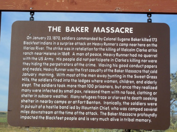 A sign explains what happened during the Marias Massacre. Photo courtesy Jimmy Emerson via Flickr