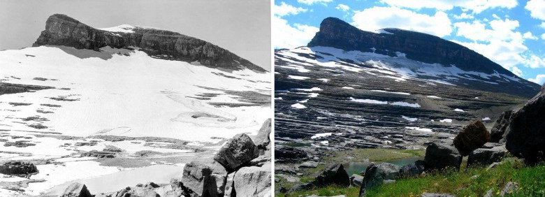 Between 1932 and 2005, this is what the retreat of Boulder Glacier in Glacier National Park looked like. Losing glaciers isn't merely a cosmetic alteration of landscape or inconsequential.  The winnowing of ice sheets has coincided with rising temperatures, less snowpack and snow melting earlier, large forest fires and lower flows in rivers come summer. Photo illustration courtesy Greg Pederson/USGS