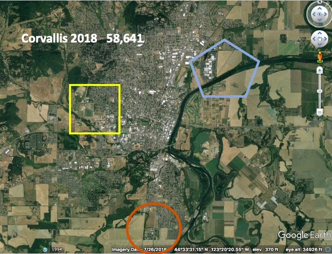 In 24 years as the Oregon college town of Corvallis, roughly comparable to Bozeman, grew in population, the pastoral nature of the land beyond its urban growth boundary remained largely intact. Image provided courtesy Robert Liberty and Google Earth.