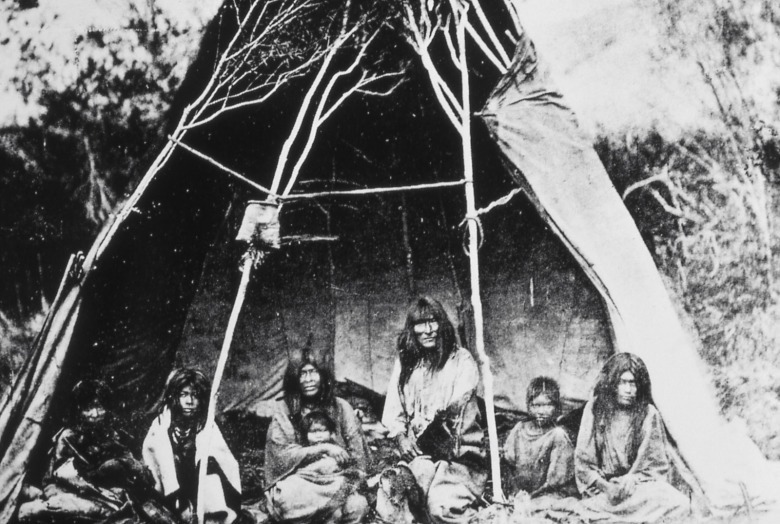 There are few, if any, photographs of the Eastern Shoshone inhabitants of Yellowstone known as the Sheepeaters (Tukudeka) that were there before it became a national park. Archeological evidence and oral stories speak to a long-lasting connection with lands that exist inside current park boundaries. This photo of a Tukudeka family was taken by William Henry Jackson in Idaho.